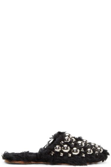 Miu Miu - Black Eco Shearling Studded Mules