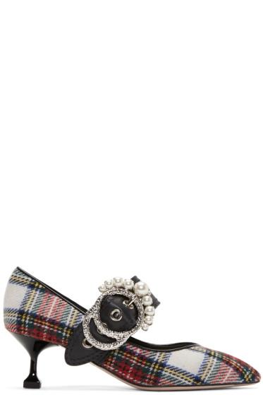 Miu Miu - Multicolor Pearl Tartan Heels