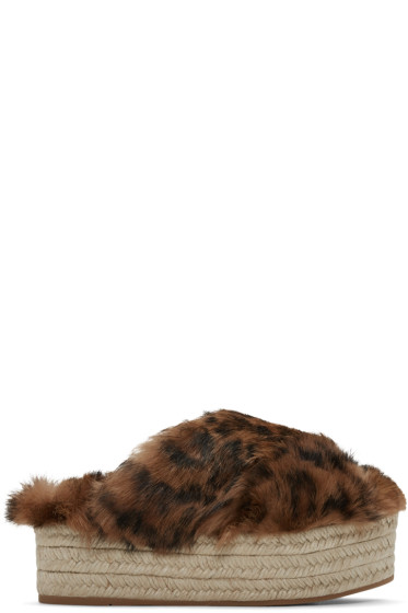 Miu Miu - Brown Leopard Fur Cross Sandals