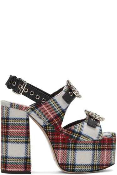 Miu Miu - Multicolor Tartan Platform Sandals