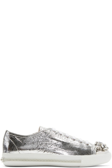 Miu Miu - Silver Bejewelled Metallic Sneakers