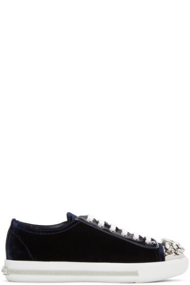 Miu Miu - Blue Bejewelled Velvet Sneakers