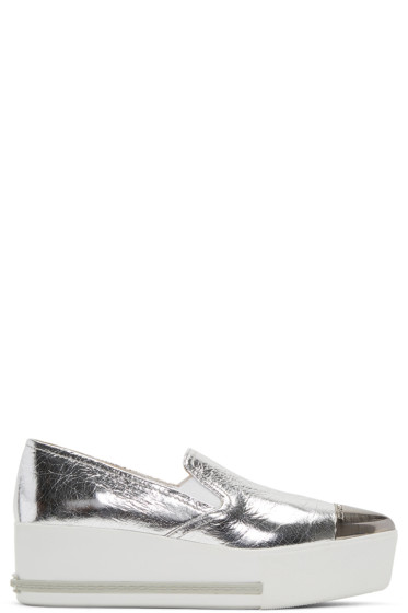 Miu Miu - Silver Pointed Slip-On Sneakers