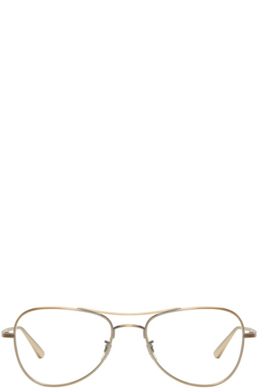Oliver Peoples The Row - Gold Executive Suite Aviator Glasses