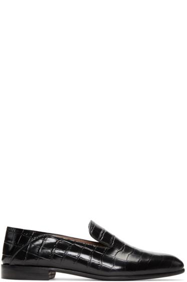 Alumnae - Black Croc-Embossed Garçonne Step Down Loafers