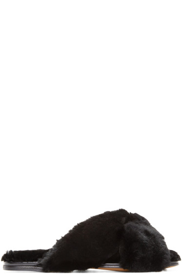 Alumnae - Black Fur Turban Slides