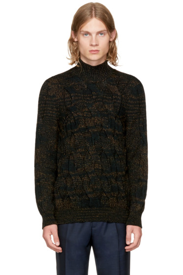 Missoni - Green & Black Cable Knit Turtleneck