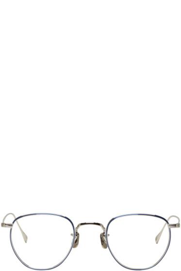 Eyevan 7285 - Silver & Blue 'Model 549' Glasses