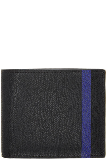 Valextra - Black & Blue Stripe 6CC Bifold Wallet