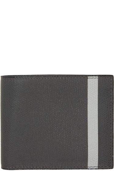 Valextra - Grey Stripe 6CC Bifold Wallet
