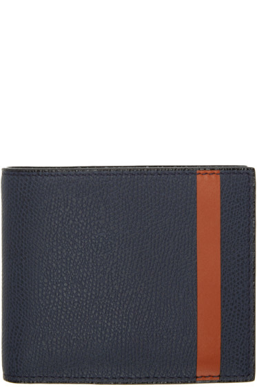 Valextra - Navy & Orange Stripe 6CC Bifold Wallet