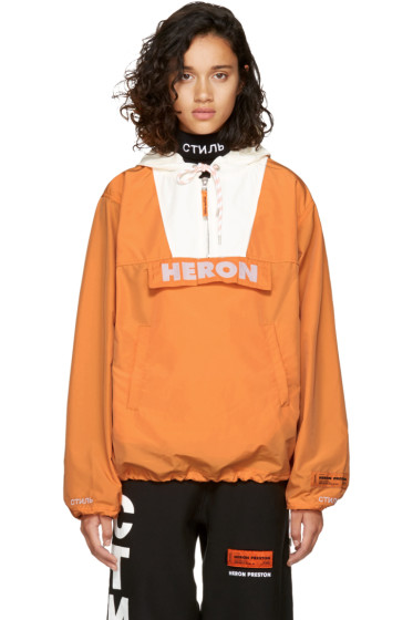 Heron Preston - Orange & White 'Heron' Windbreaker Jacket