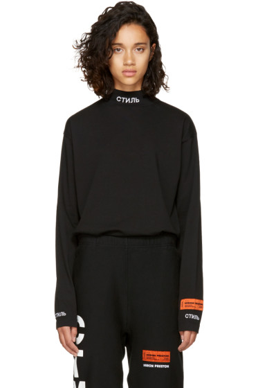 Heron Preston - Black Long Sleeve 'CTNMB' T-Shirt