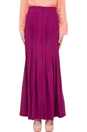 by Malene Birger - Silk Blend Rasberry Pleat Skirt