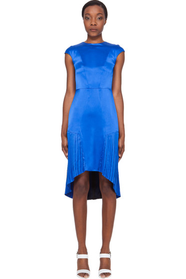 Mandy Coon - Glossy Blue Pleat Dress