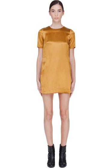Co - Gold Silk Blend Shift Dress