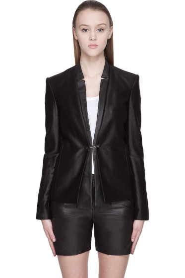 J Brand Ready to Wear - Black Hilary Textured Cotton Leather-Trimmed Jacket