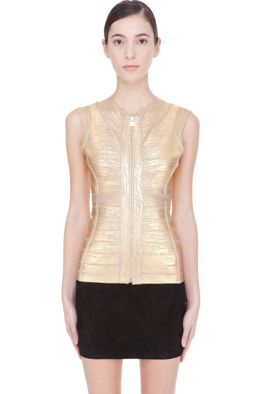 Herve Leger - Gold distressed Zipper Tank top