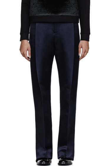 Christopher Kane - Navy Double Tuck Silk-Satin Trouser