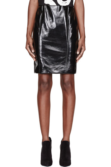 Jonathan Saunders - Black Vinyl Elina Pencil Skirt