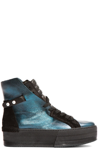 CA by Cinzia Araia - Teal Leather High-Rise Platform Sneakers
