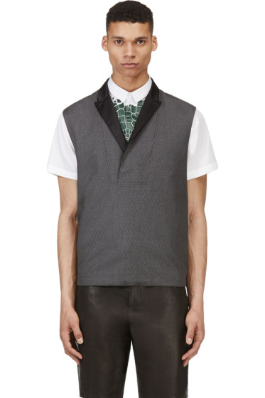 Krisvanassche - Grey Wool Diamond Pinstripe Vest
