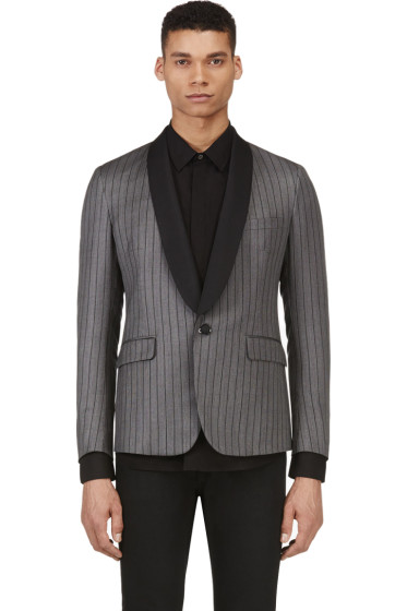 Band of Outsiders - Grey Wool Striped Blazer