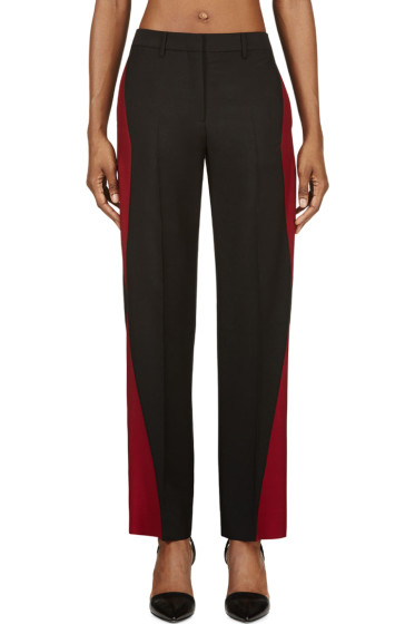 Maison Margiela - Black & Oxblood Colorblocked Mohair Trousers