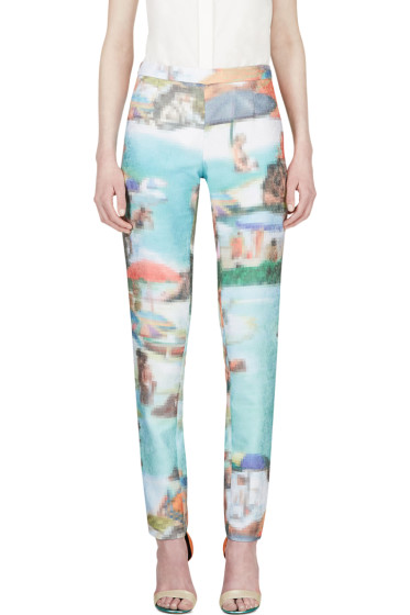 Hussein Chalayan - Turquoise Pixelated Ribbed Trousers