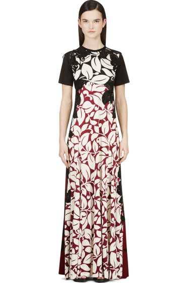 Marc Jacobs - Black & Burgundy Silk Jersey Gown