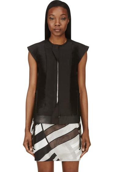 Rick Owens - Black Silk & Leather Laced Breast Plate Vest