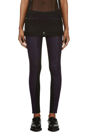 Damir Doma - Purple Lambskin Paneled Leggings
