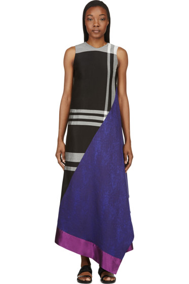 Damir Doma - Grey Colorblocked Side-Drape Dress