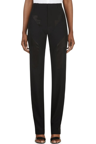 Givenchy - Black Satin Appliqué Trousers