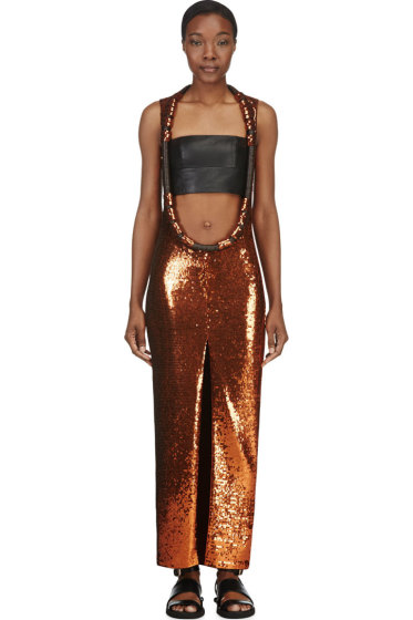 Givenchy - Rust Sequinned Open-Front Dress