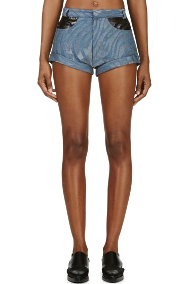 Rodarte - Blue Zebra Runway Denim Shorts