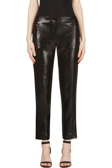 Mugler - Black Woven Glossy Trousers