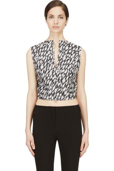 Mugler - Black & White Leopard Jacquard Crop Top