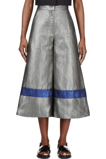 Roksanda - Grey Metallic Cropped Wide-Leg Craven Trousers