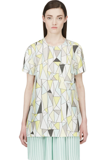 Roksanda - Grey & Yellow Silk Geometric Baynes T-Shirt