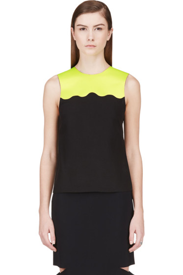 Jonathan Saunders - Acid Green & Black Sleeveless Blouse