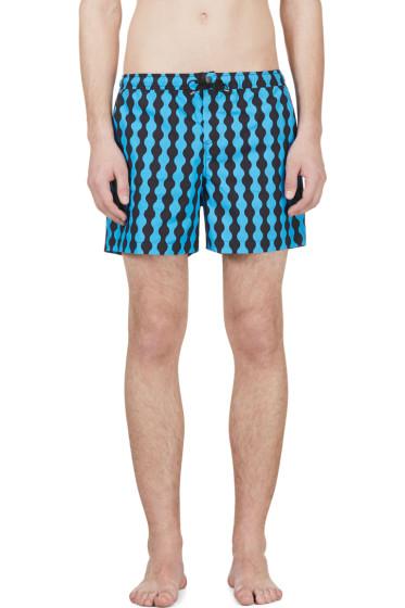 Jonathan Saunders - Blue & Black Wave Pattern Swim Shorts