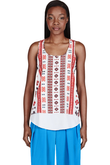 Altuzarra - Red Crepe De Chine Romanian Printed Tank Top