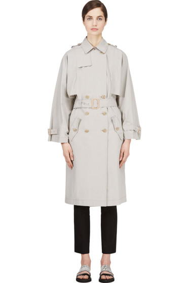 Veronique Branquinho - Grey Kimono Sleeve Trench Coat