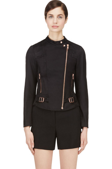 Veronique Branquinho - Black & Copper Twill Quilted Biker Jacket