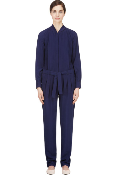 Veronique Branquinho - Indigo Matte Silk Jumpsuit