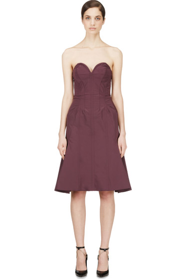 Nina Ricci - Purple Satin Compact Bustier Dress