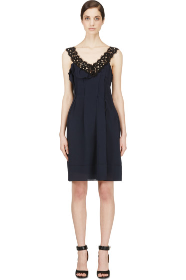 Nina Ricci - Navy Crepe & Lace Pleated Dress