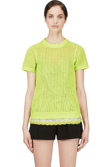 Sacai Luck - Charteuse Open Knit Layered Top