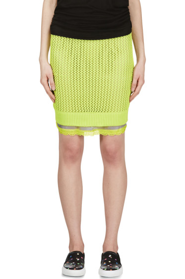 Sacai Luck - Chartreuse Open Knit Layered Skirt
